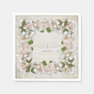 Rustic Wood Blush Pink Wild Rose Floral Art Wreath Disposable Napkin