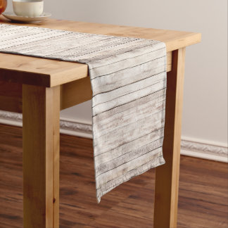 Rustic Wood Boards Whitewashed Worn Barn Boards Short Table Runner