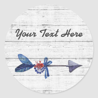Rustic Wood Bohemian Gypsy Arrow Feather & Beads Round Sticker