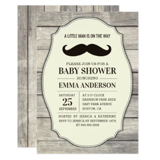 Rustic Wood Boy Baby Shower Invitation - Mustache