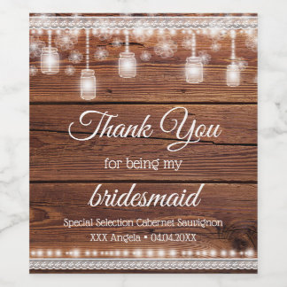 Rustic Wood Bridal Thank You Lace Wine Label