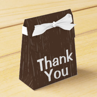 Rustic Wood Brown Thank You  - Wedding Favor Box
