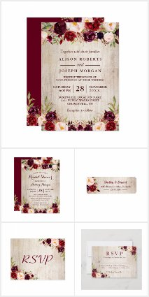 Rustic Wood Burgundy Floral Invitation Suite