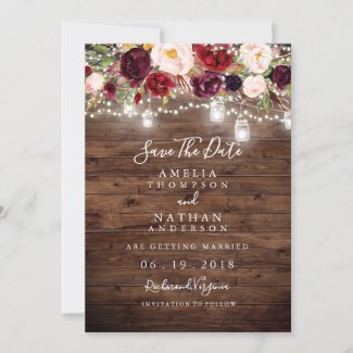 Rustic Wood Burgundy Floral Lights Save The Date