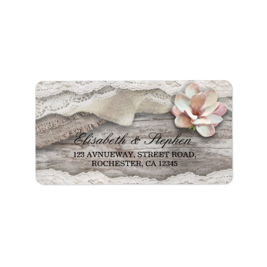 Rustic Wood Burlap Lace Floral Country Wedding Label