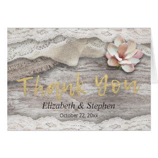 Rustic Wood Burlap Lace Floral Wedding Thank You Card