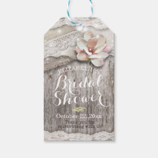 Rustic Wood Burlap Lace String Light Bridal Shower Gift Tags