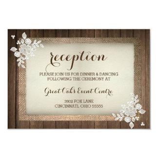Rustic Wood, Burlap & Lace Wedding Reception Card