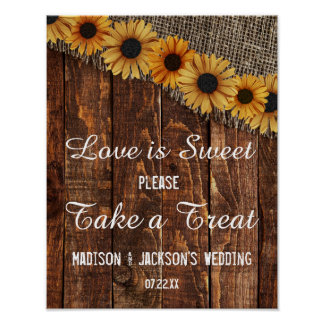 Rustic Wood & Burlap Sunflower Love is Sweet Treat Poster