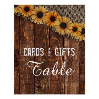Rustic Wood Burlap Sunflower Wedding Cards & Gifts Poster