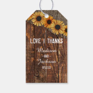 Rustic Wood Burlap Sunflower Wedding Love & Thanks Pack Of Gift Tags