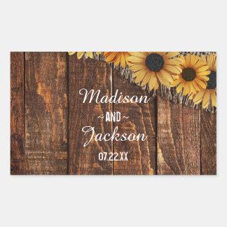 Rustic Wood & Burlap Sunflower Wedding Monogram
