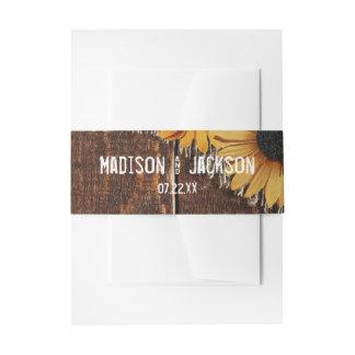 Rustic Wood & Burlap Sunflower Wedding Monogram Invitation Belly Band