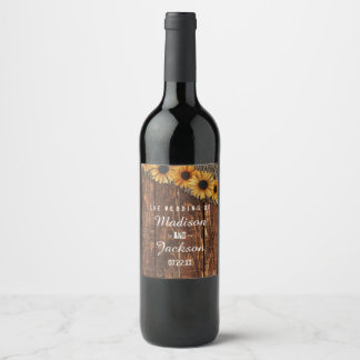 Rustic Wood & Burlap Sunflower Wedding Monogram Wine Label
