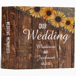 Rustic Wood & Burlap Sunflower Wedding Photo Album Binders
