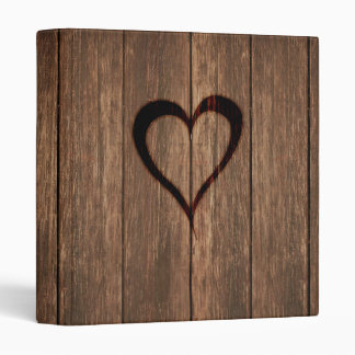 Rustic Wood Burned Heart Print 3 Ring Binder