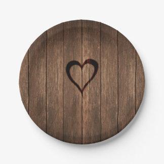 Rustic Wood Burned Heart Print 7 Inch Paper Plate