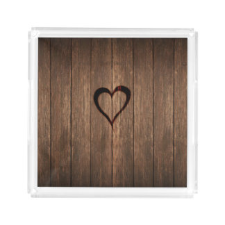 Rustic Wood Burned Heart Print Acrylic Tray