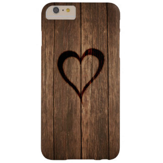 Rustic Wood Burned Heart Print Barely There iPhone 6 Plus Case