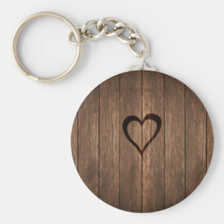 Rustic Wood Burned Heart Print Basic Round Button Keychain