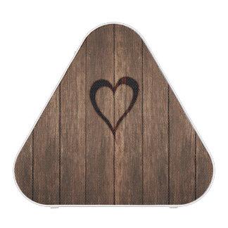 Rustic Wood Burned Heart Print Blueooth Speaker