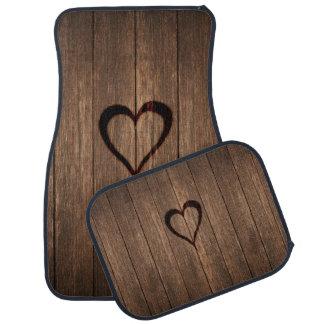 Rustic Wood Burned Heart Print Car Carpet