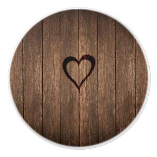 Rustic Wood Burned Heart Print Ceramic Knob