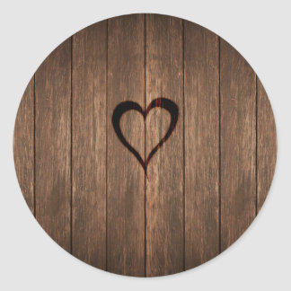 Rustic Wood Burned Heart Print Classic Round Sticker