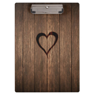 Rustic Wood Burned Heart Print Clipboard