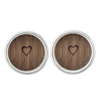 Rustic Wood Burned Heart Print Cufflinks