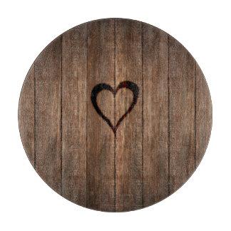 Rustic Wood Burned Heart Print Cutting Board