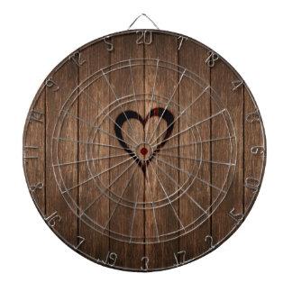 Rustic Wood Burned Heart Print Dartboard With Darts