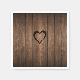 Rustic Wood Burned Heart Print Disposable Napkin