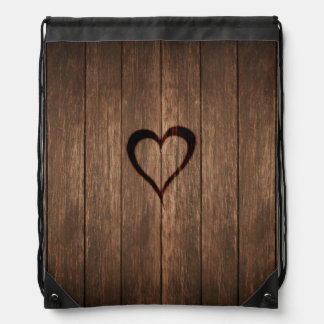 Rustic Wood Burned Heart Print Drawstring Bag