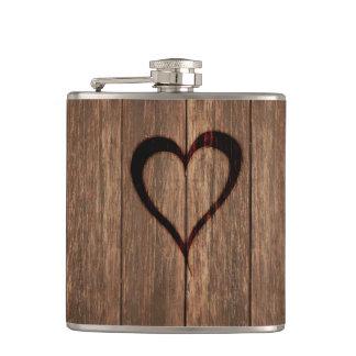 Rustic Wood Burned Heart Print Flasks