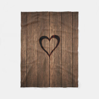 Rustic Wood Burned Heart Print Fleece Blanket