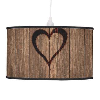 Rustic Wood Burned Heart Print Hanging Lamps
