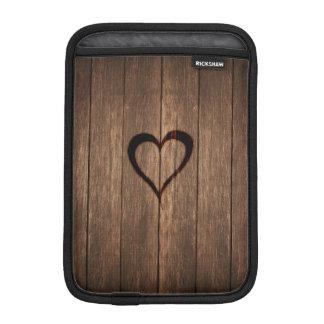 Rustic Wood Burned Heart Print iPad Mini Sleeves