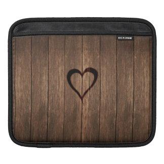 Rustic Wood Burned Heart Print iPad Sleeve