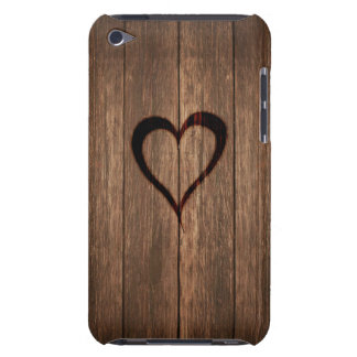 Rustic Wood Burned Heart Print iPod Touch Case