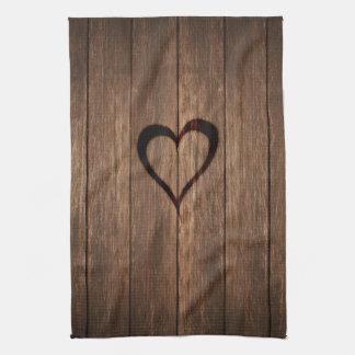 Rustic Wood Burned Heart Print Kitchen Towel
