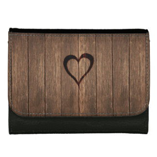 Rustic Wood Burned Heart Print Leather Wallets