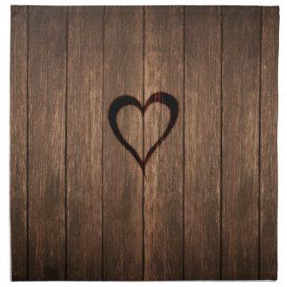 Rustic Wood Burned Heart Print Napkin