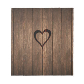 Rustic Wood Burned Heart Print Notepad