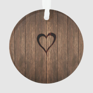 Rustic Wood Burned Heart Print Ornament
