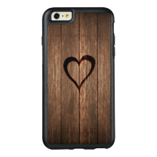 Rustic Wood Burned Heart Print OtterBox iPhone 6/6s Plus Case