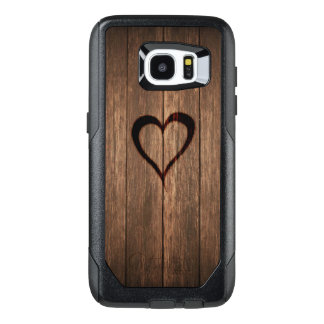 Rustic Wood Burned Heart Print OtterBox Samsung Galaxy S7 Edge Case