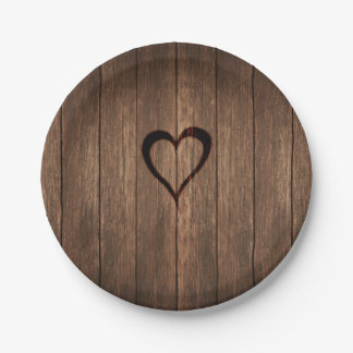 Rustic Wood Burned Heart Print Paper Plate