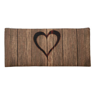 Rustic Wood Burned Heart Print Pencil Case