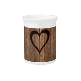 Rustic Wood Burned Heart Print Pitcher